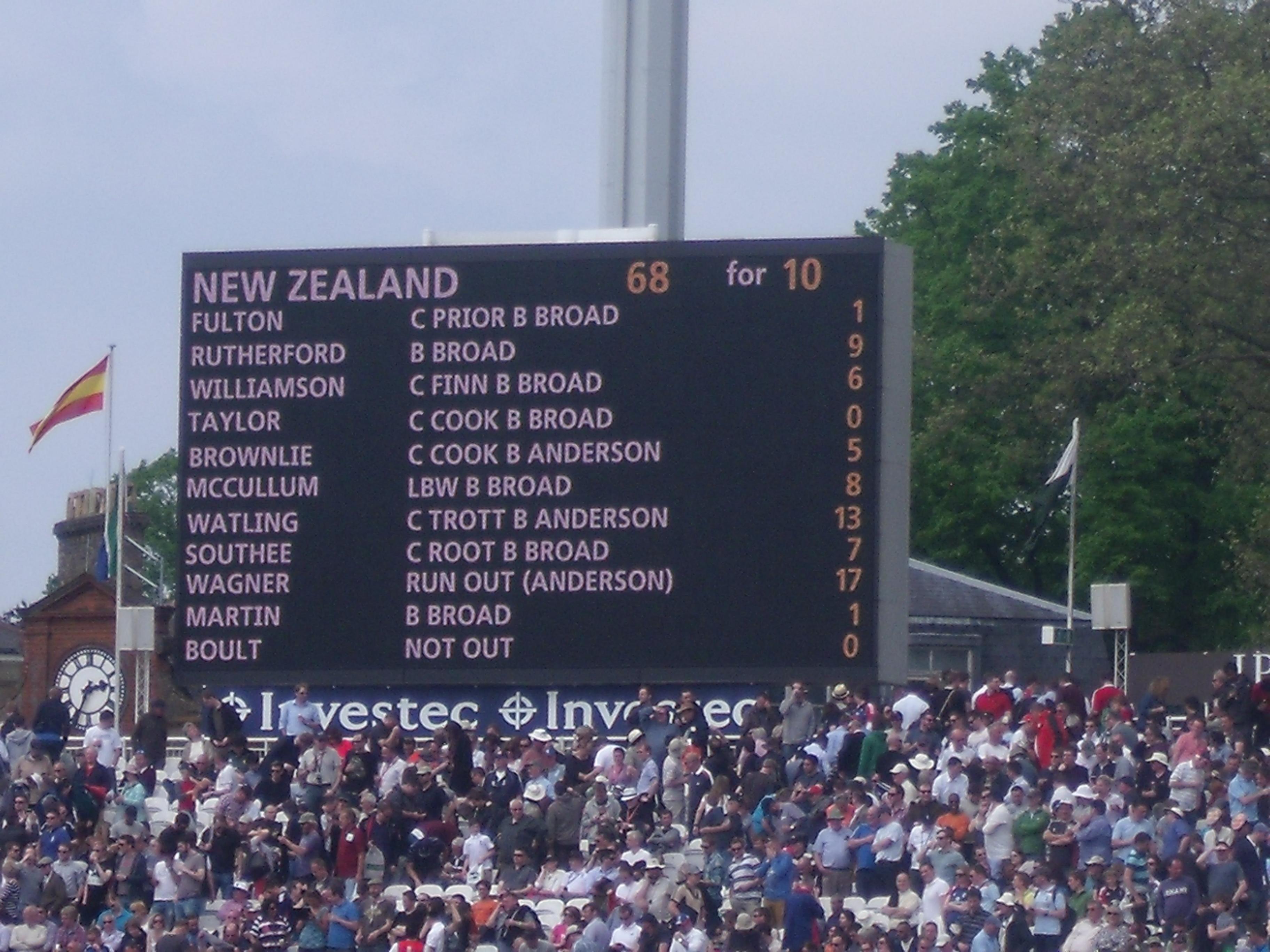test match score