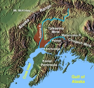 Matanuska-Susitna Valley shown shaded in red north of Anchorage, Alaska