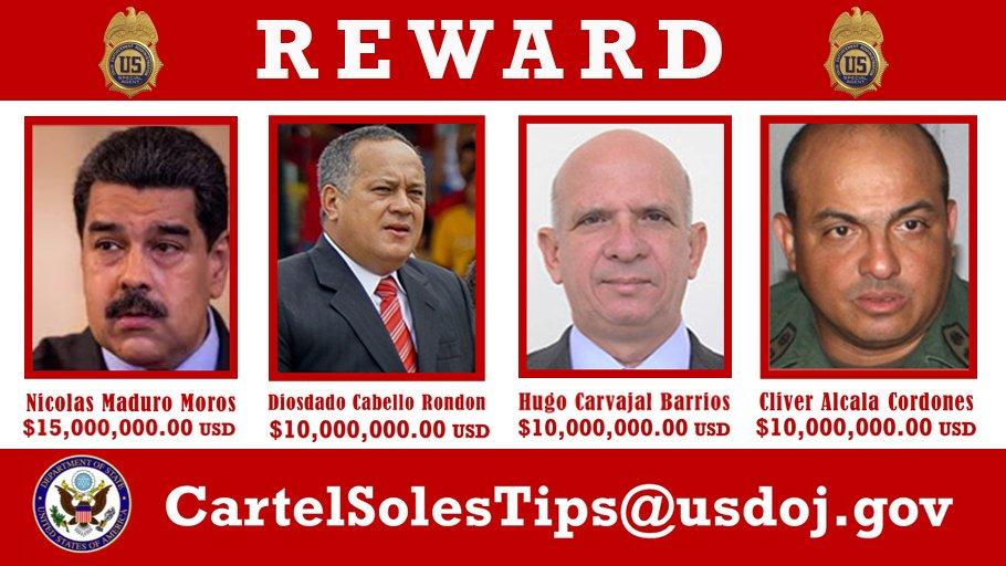 File:Nicolás Maduro, Diosdado Cabello, Hugo Carvajal and Clíver Alcalá  reward poster.jpg - Wikimedia Commons
