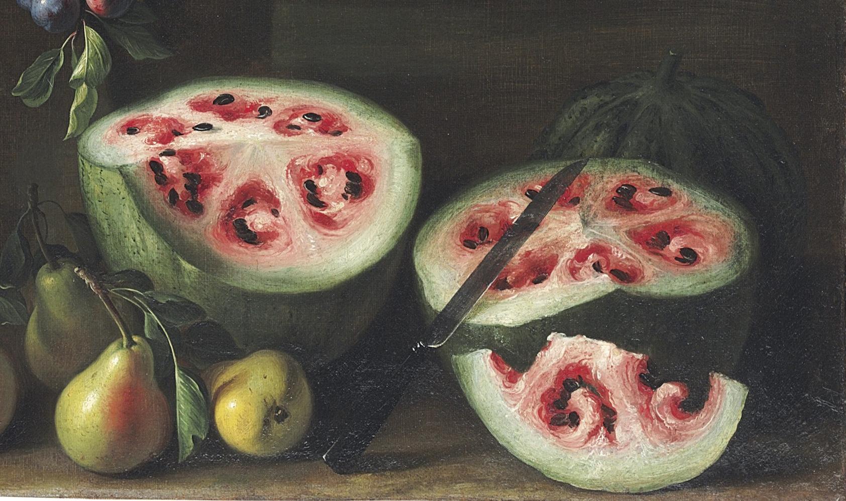 Pasteques, extrait d'un tableau de Giovanni Stanchi