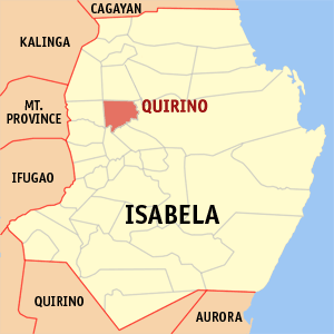 Map of Isabela showing the location of Quirino