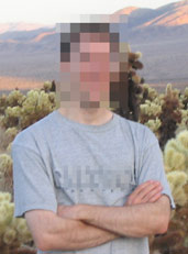 Pixelation was used to anonymize this photograph by applying a mosaic to the face and shirt.