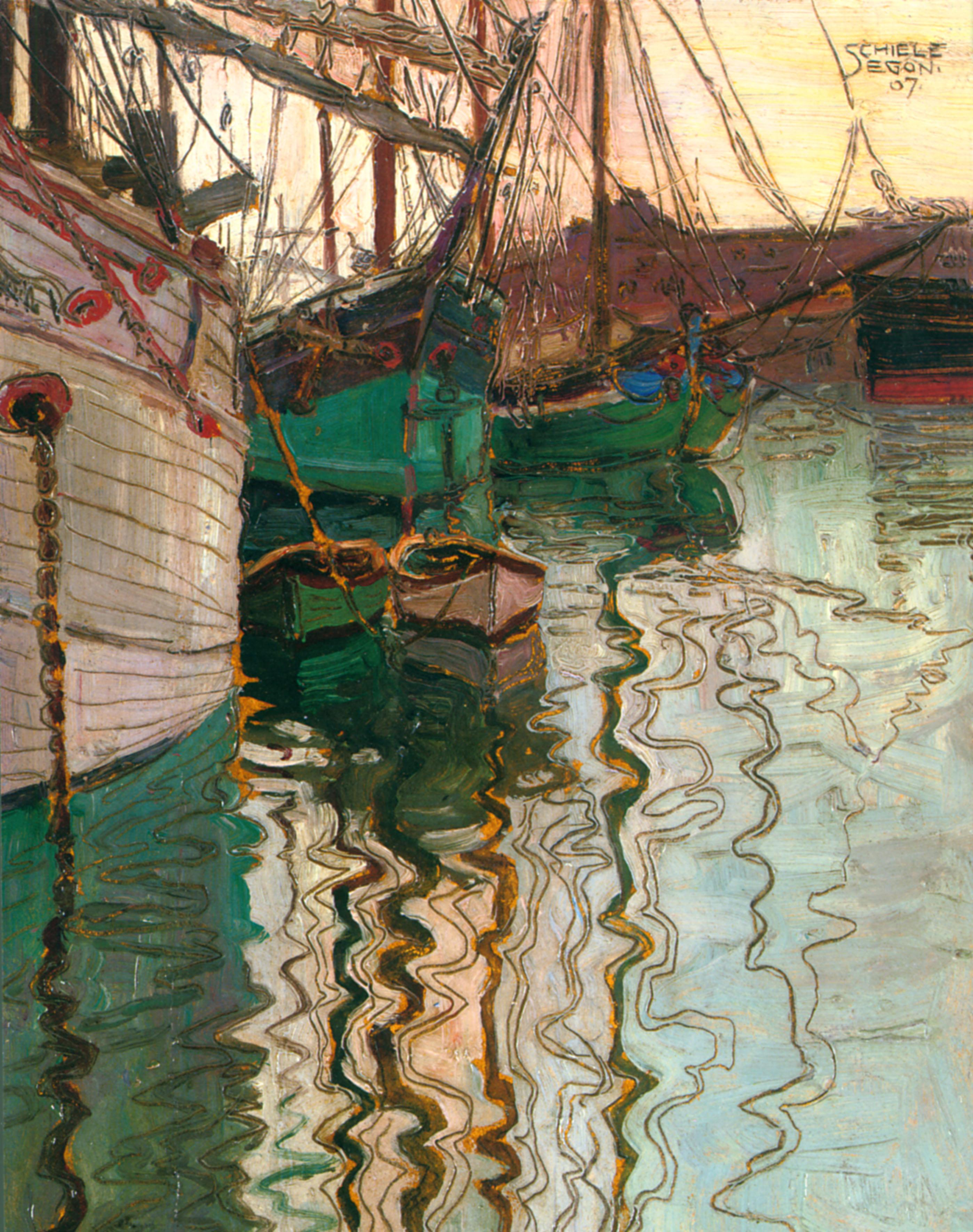 Fotografia de obra feita com tinta óleo e lápis sobre papel. Paisagem marinha com barcos dentro da água e, mais afastada,  uma casa.