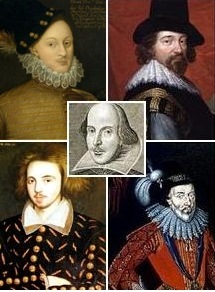 Portraits of Shakespeare and four proposed alternative authors.