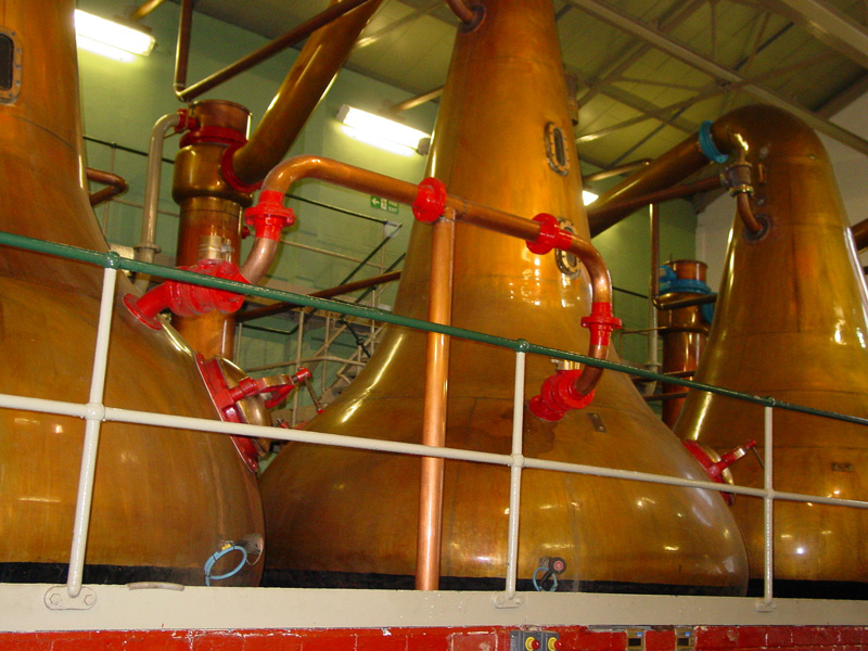 a whiskey still: large tank used for distilling Irish whiskey