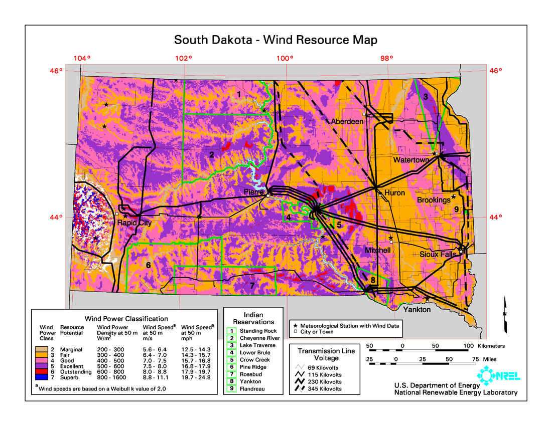 Wind Power In South Dakota Wikipedia - Us wind energy map