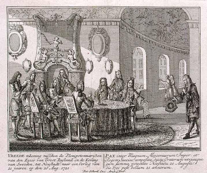 Подписание мирного договора в Ништадте 30 августа 1721 года. Гравюра Питера Шенка-младшего[en]. 1721