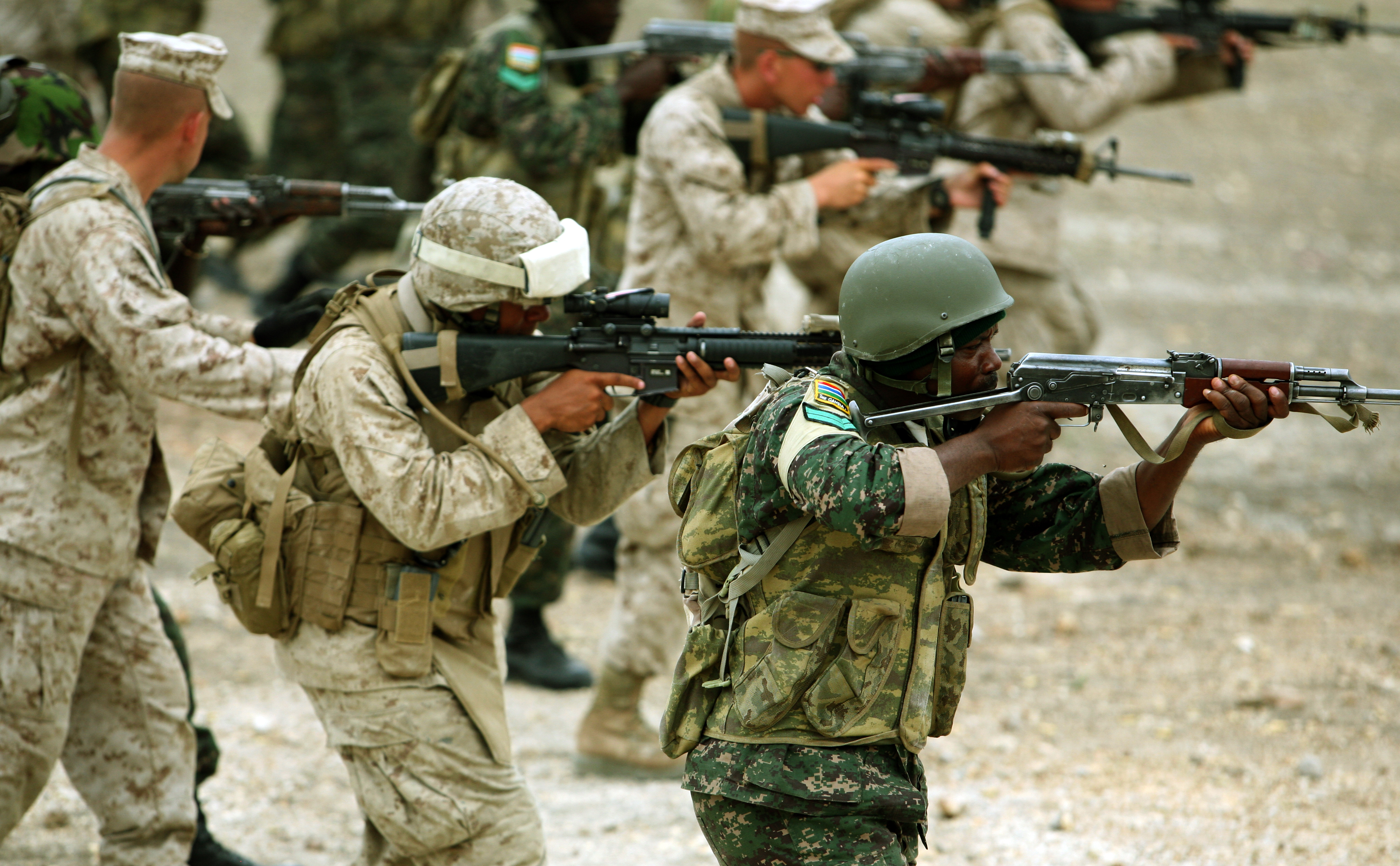 File:U.S. Marines and Gambian soldiers practice firing on ...