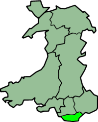 South Glamorgan shown within Wales as a preserved county