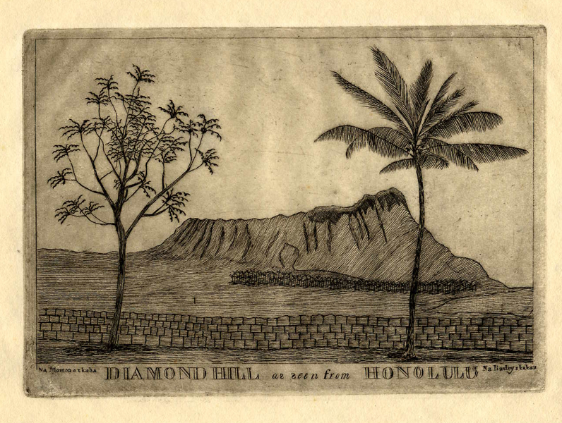 'Diamond Hill as seen from Honolulu' by Edward Bailey, c. 1850's, copper plate engraving
