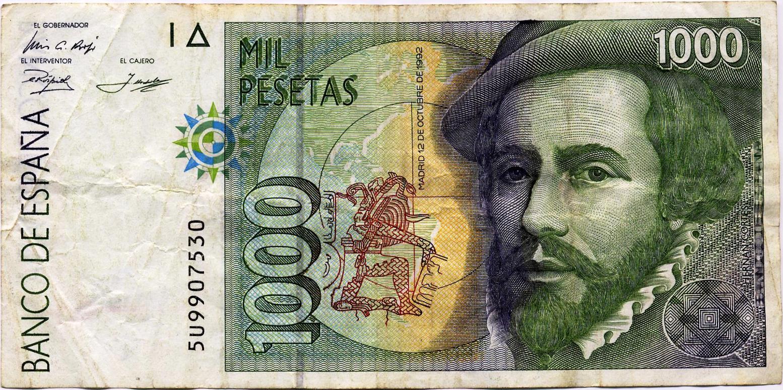 File 1000 Pesetas 12 De Octubre 1992 Hernán Cortés Jpg