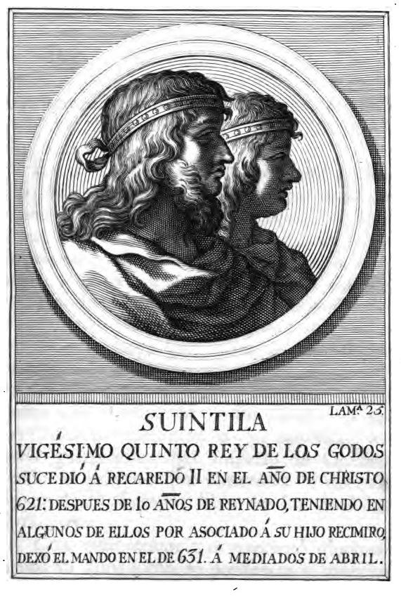 Retrato de SUINTILA, rey visigodo con el n° 25 en el orden cronológico del libro digitalizado por Google desde la librería de la Universidad de Oxford.