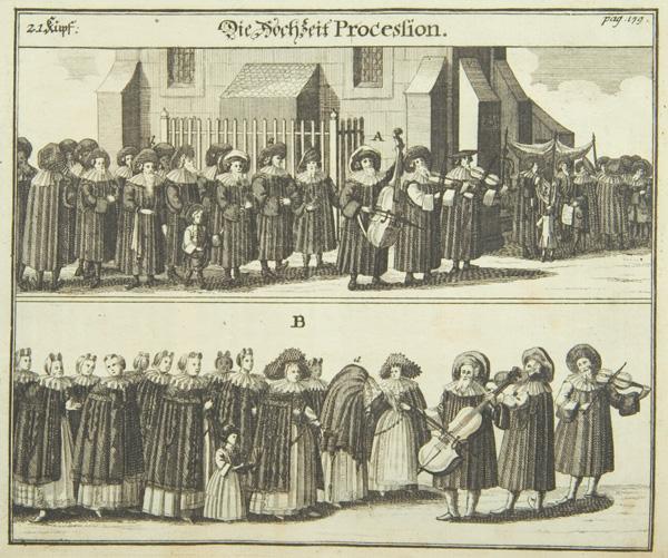 Procesión nupcial. Grabado alemán, ca. 1700. En el panel A, el novio pasa delante de la sinagoga escoltado por los hombres de la comunidad hacia el palio nupcial. En el panel B, la novia con el velo junto a las mujeres, hacia la ceremonia. En ambos, se destacan los músicos.