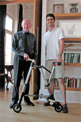 Inventors of the A-bike, Sir Clive Sinclair and Alexander Kalogroulis AbikeInventors.png