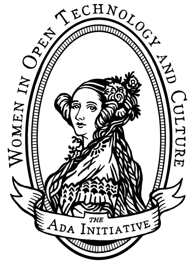 A black and white, less detailed version of the Ada Initiative Ada Lovelace logo suitable for use as an ink stamp