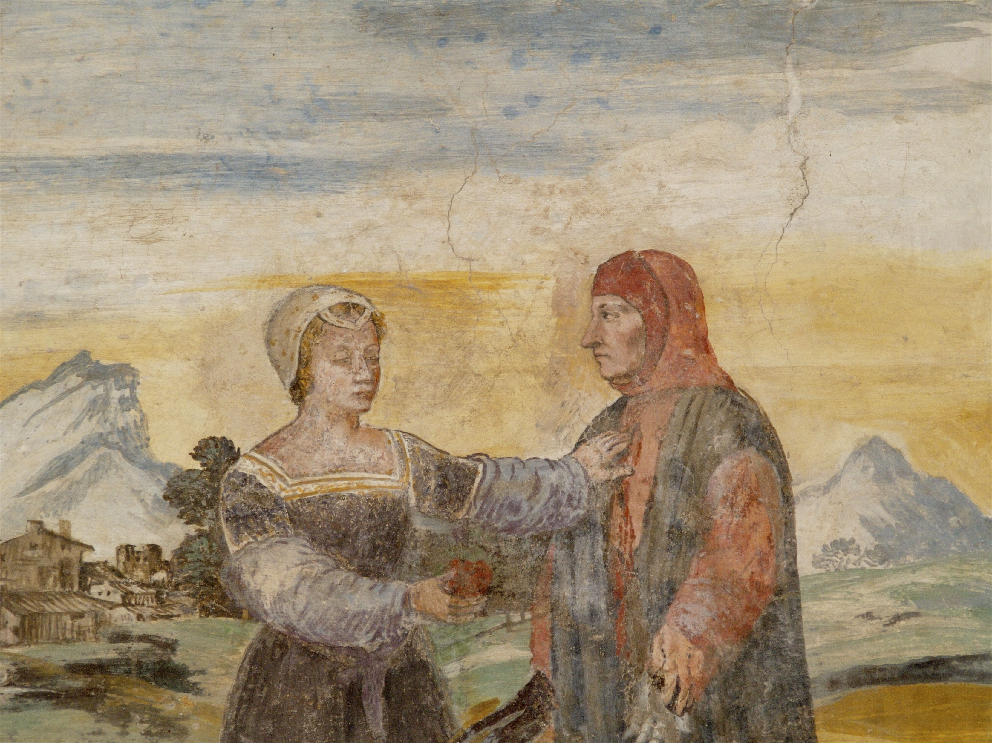 ... Affresco di Petrarca e Laura, Casa del Petrarca (Arquà Petrarca).JPG