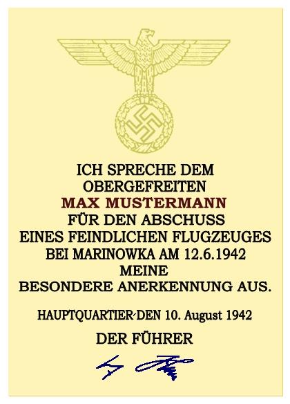 Anerkennungsurkunde des Oberbefehlshabers des Heeres für ...