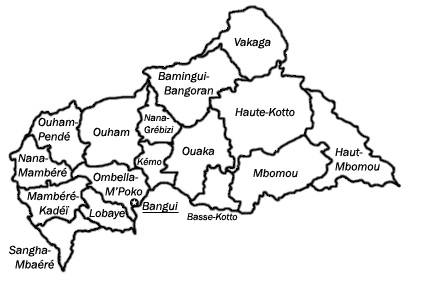 A clickable map of  the Central African Republic exhibiting its fourteen prefectures.