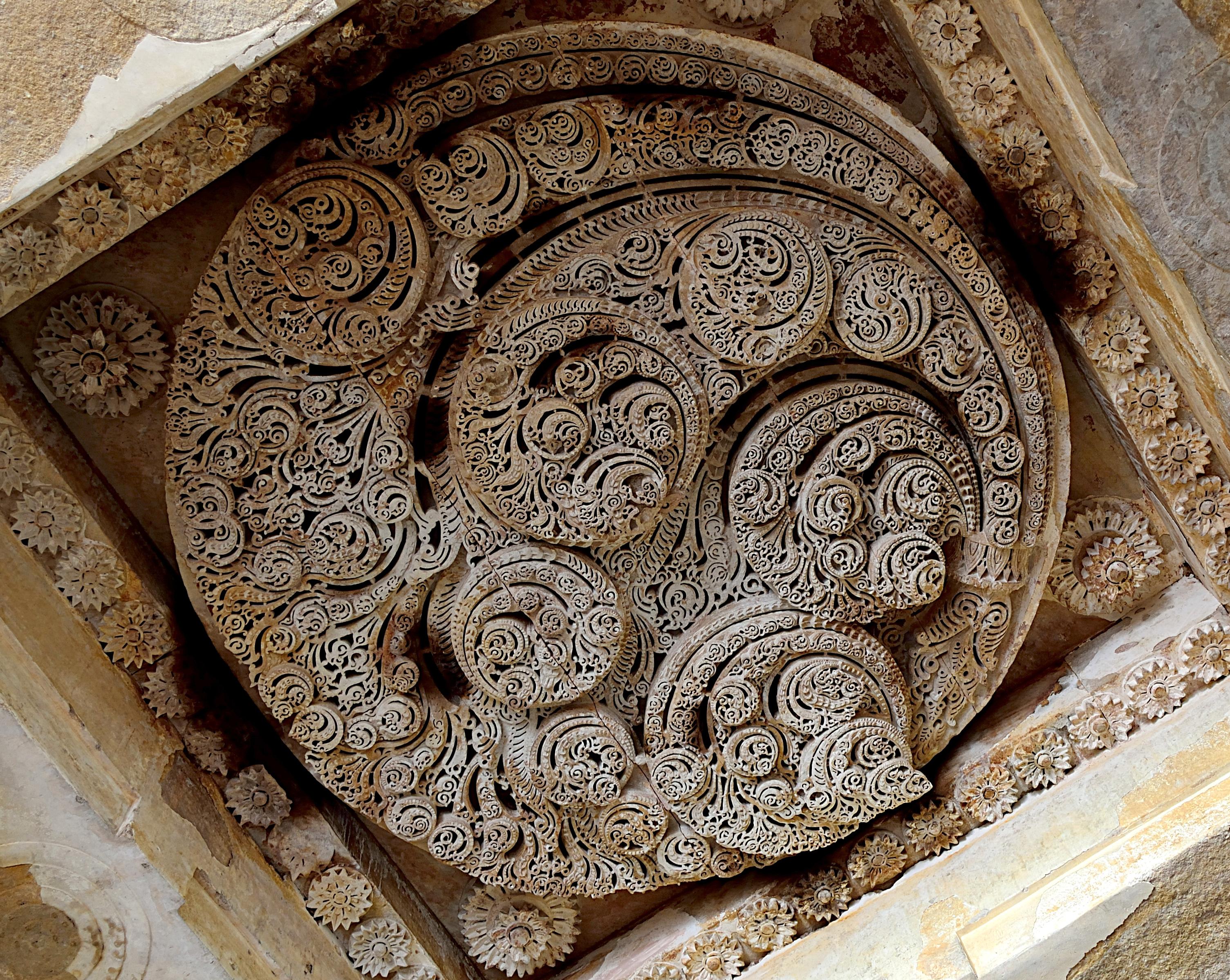 File ceiling carvings jami masjid champaner g