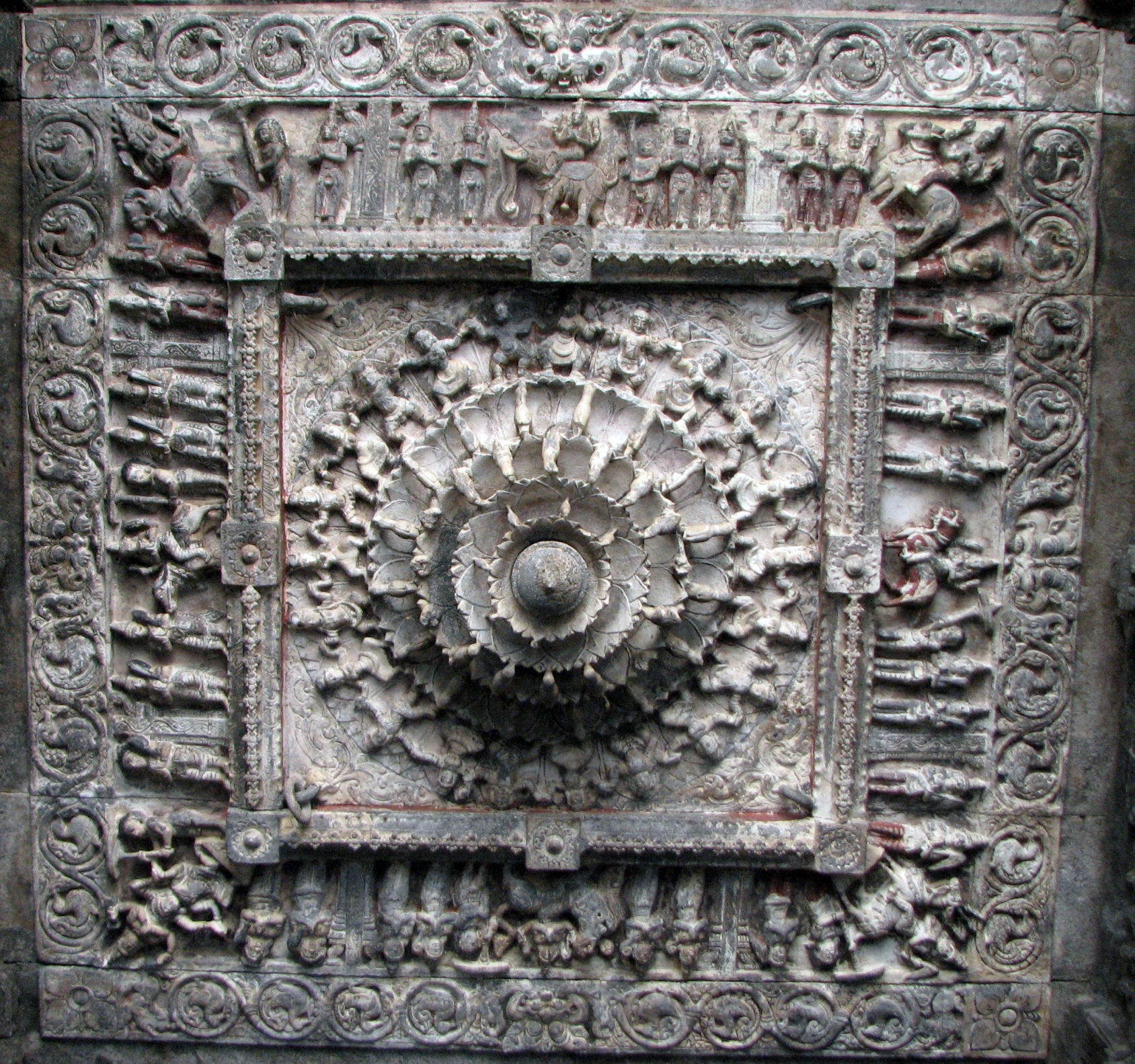 File ceiling stone carvings at vellore fort temple eg