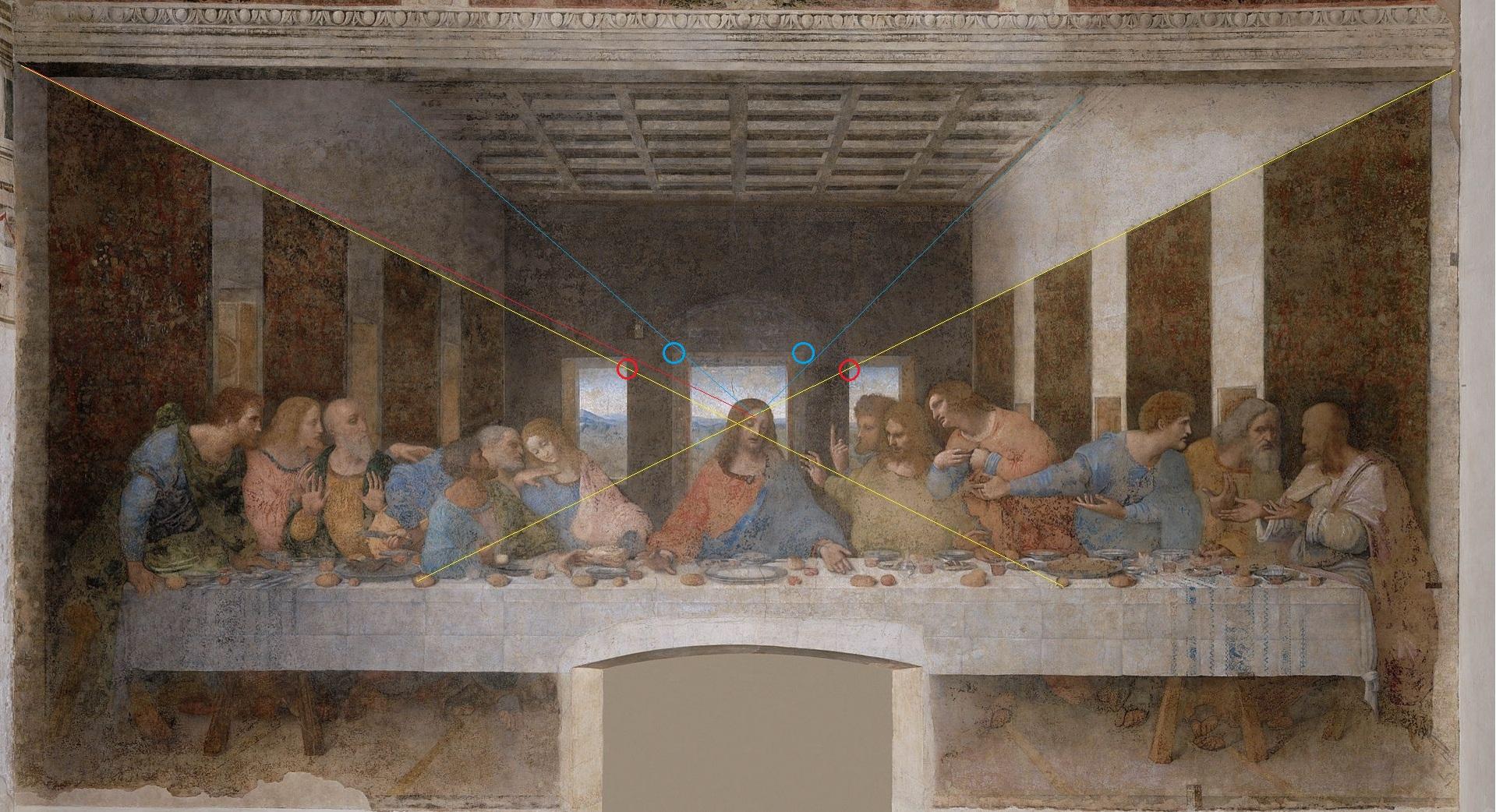 File:Das letzte Abendmahl, mit Liniendivergenz der Perspektive und ... | {Rückwand 33}