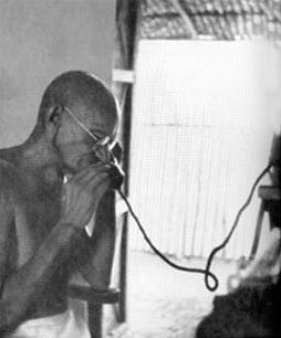 File:Gandhi at the telephone.jpg