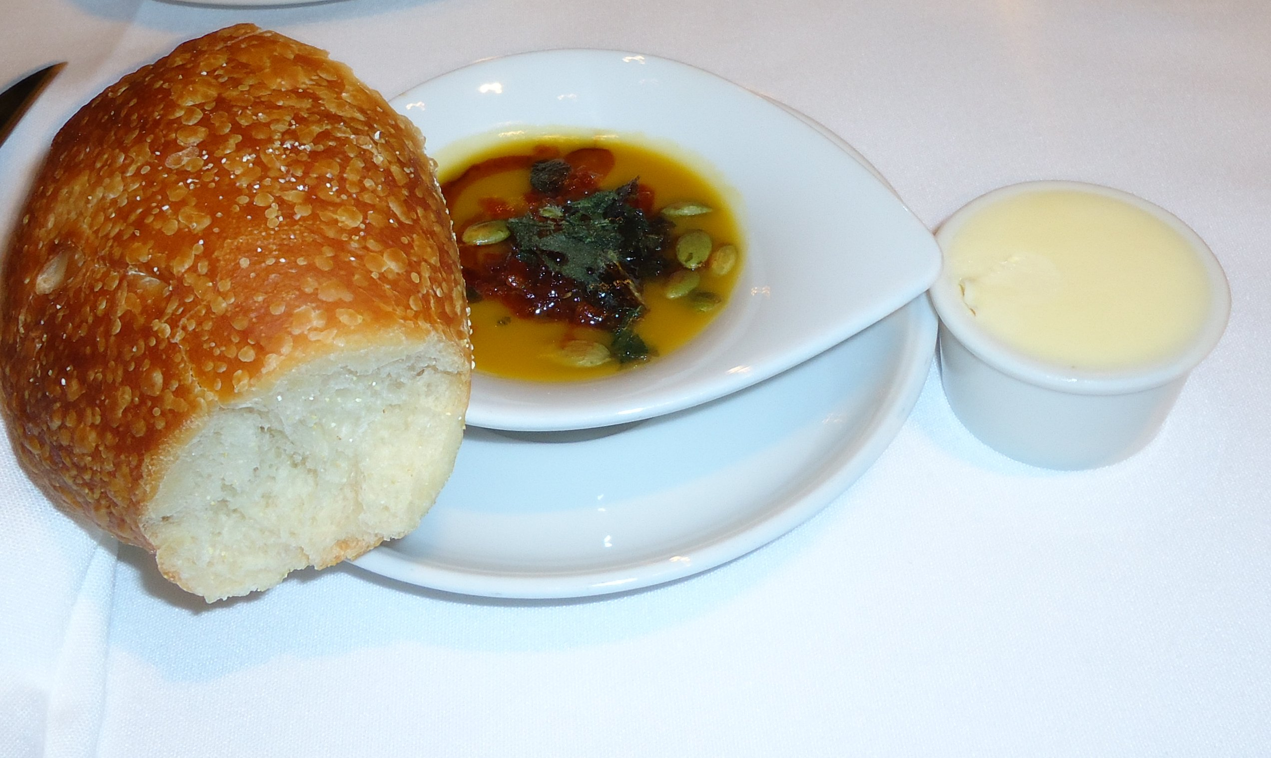 Bread, soup, and butter.
