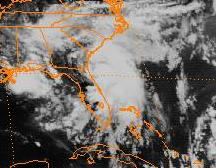 Satellite image of hurricane near the United States. Florida is depicted at the center of the image.