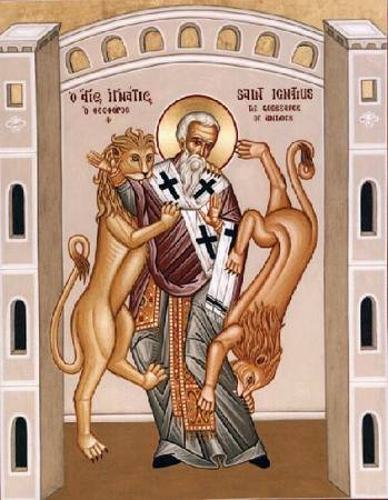 Ignatius of Antioch, one of the Apostolic Fathers and the third Bishop of Antioch, was considered a student of John the Apostle. En route to his martyrdom in Rome (c. 108), Ignatius wrote a series of preserved letters which are examples of late-1st to early-2nd-century Christian theology. Ignatius of Antioch 2.jpg