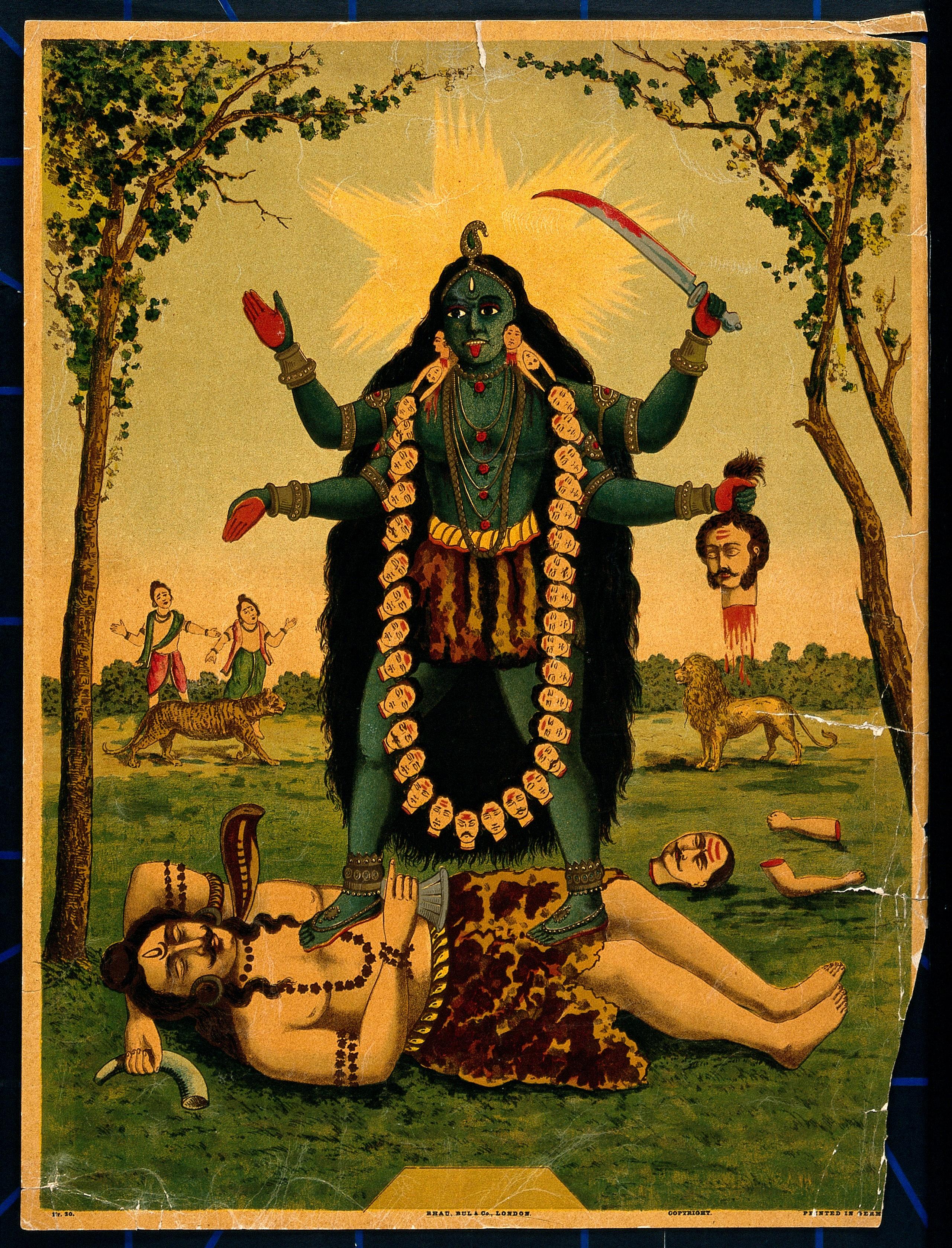 Goddess Kali stepping on Shiva
