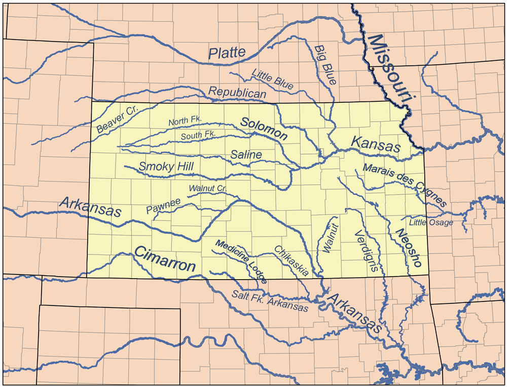 List Of Rivers Kansas Wikipedia: Map Of Us Rivers With Names At Usa Maps