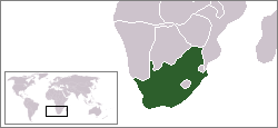 A picture of South Africa showing where it is in the world