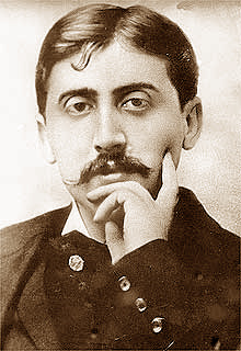 sepia toned photograph of the author Marcel Proust, accompanying a Proust Questionnaire for artists and others to complete.