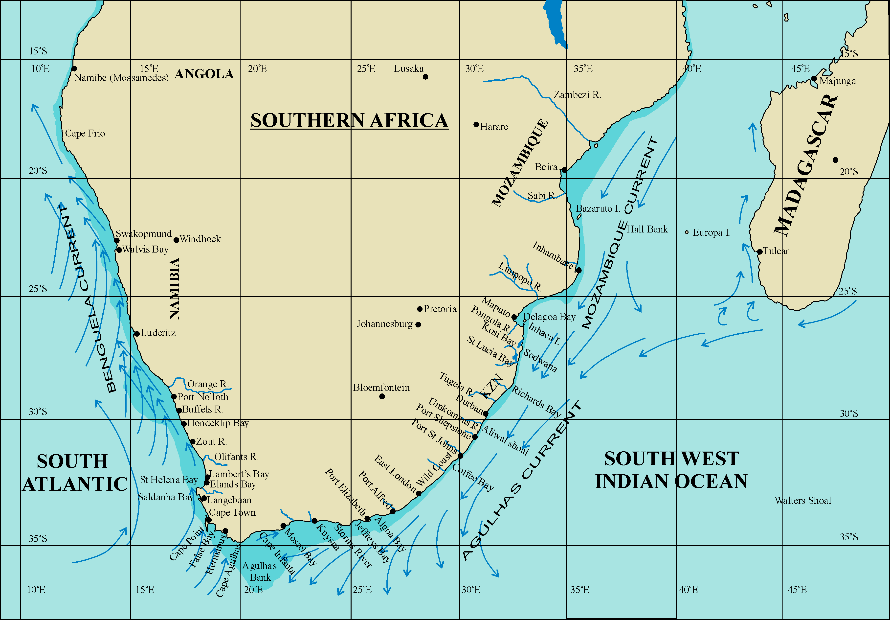 indian ocean south africa map