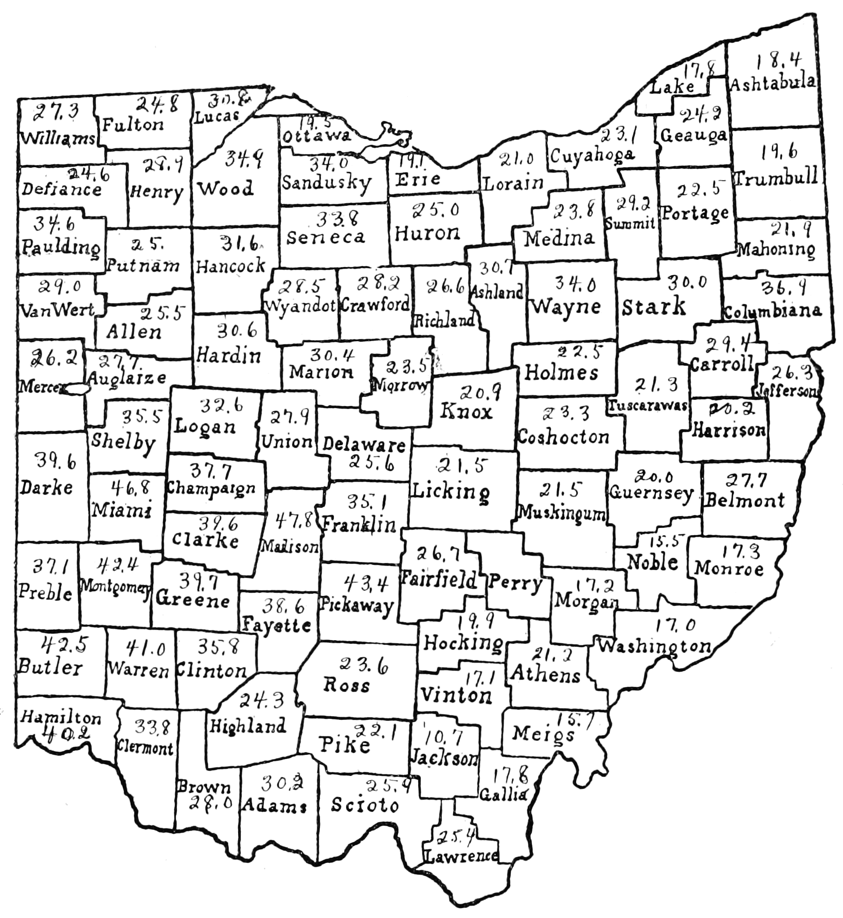 PSM V72 D046 Tenant farmers of ohio based on the 12th census of 1900.png