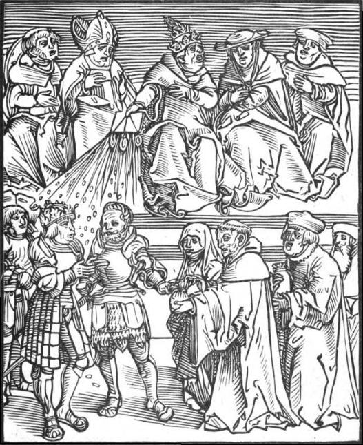Antichristus, a woodcut by Lucas Cranach the Elder, of the pope using the temporal power to grant authority to a ruler contributing generously to the Catholic Church PapalPolitics2.JPG
