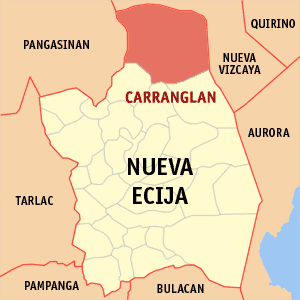 Map of Nueva Ecija showing the location of Carranglan