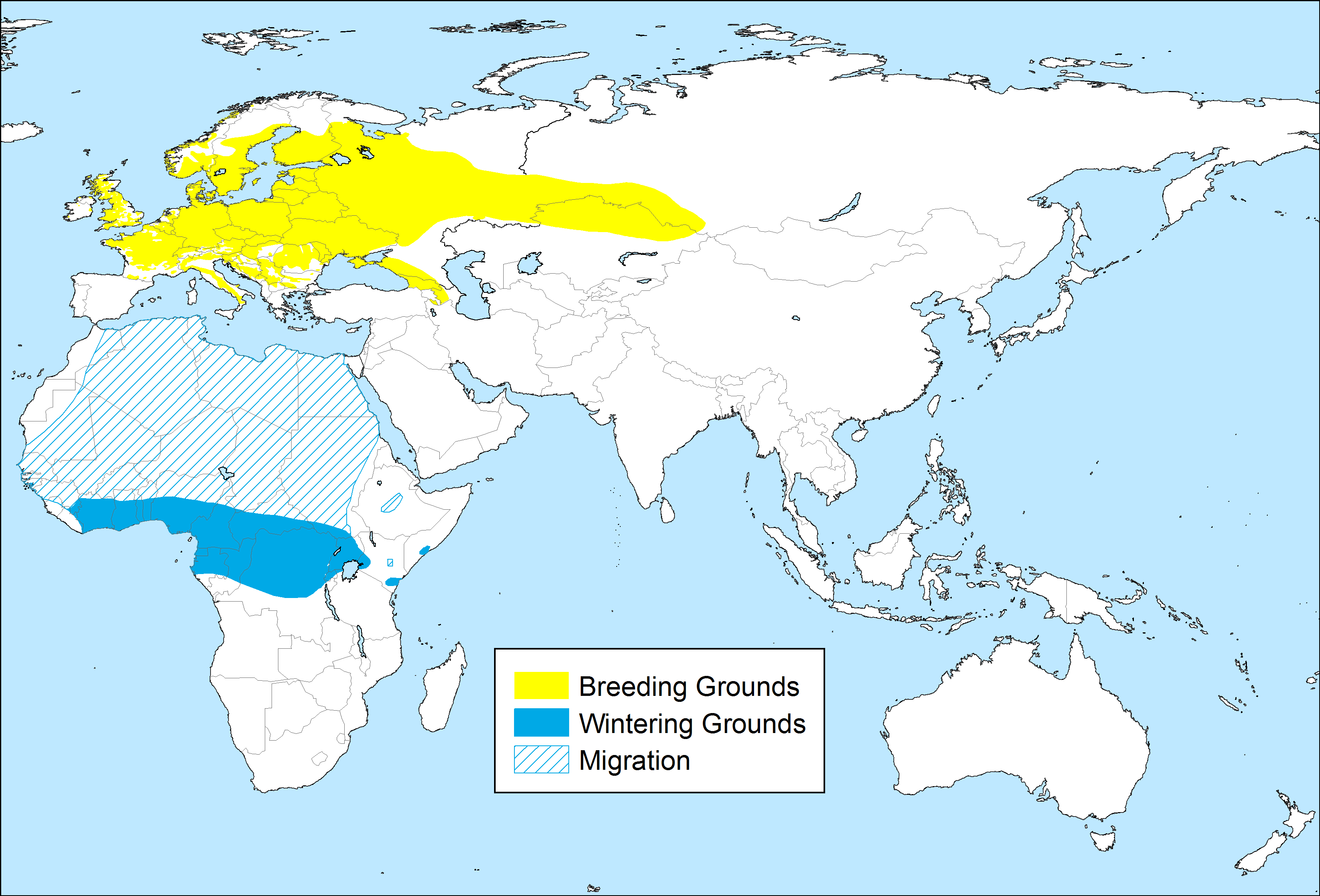 Phylloscopus sibilatrix distribution map