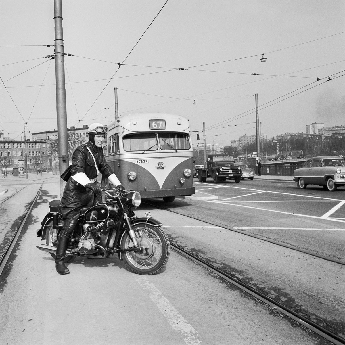 File:Police om motorcycle monitor traffic in Stockholm 1959.jpg