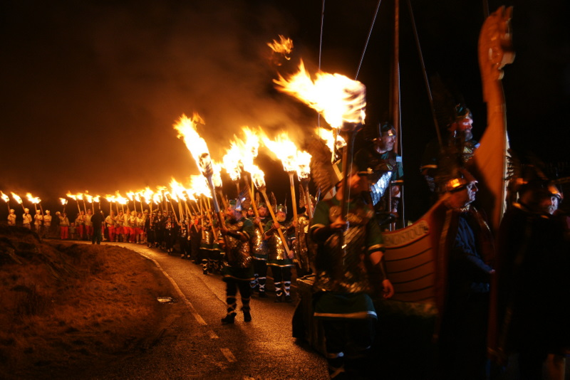 Procession at Uyeasound Up Helly Aa - geograph.org.uk - 1706007