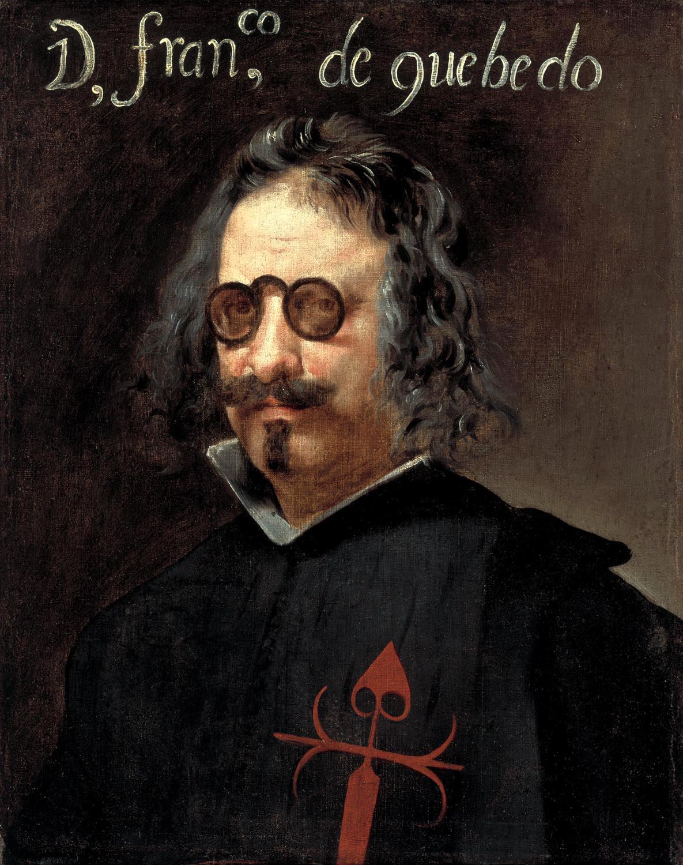 ''Francisco de Quevedo y Villegas'', atribuido actualmente a Juan van der Hamen y a Diego Velázquez erróneamente en el pasado. Siglo XVII. (Instituto Valencia de Don Juan, Madrid).