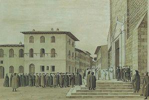 Masaccio, Ricostruzione dell'affresco della Sagra (dettaglio)
