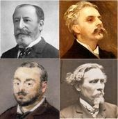 four head and shoulder images of middle-aged nineteenth century men in semi-profile