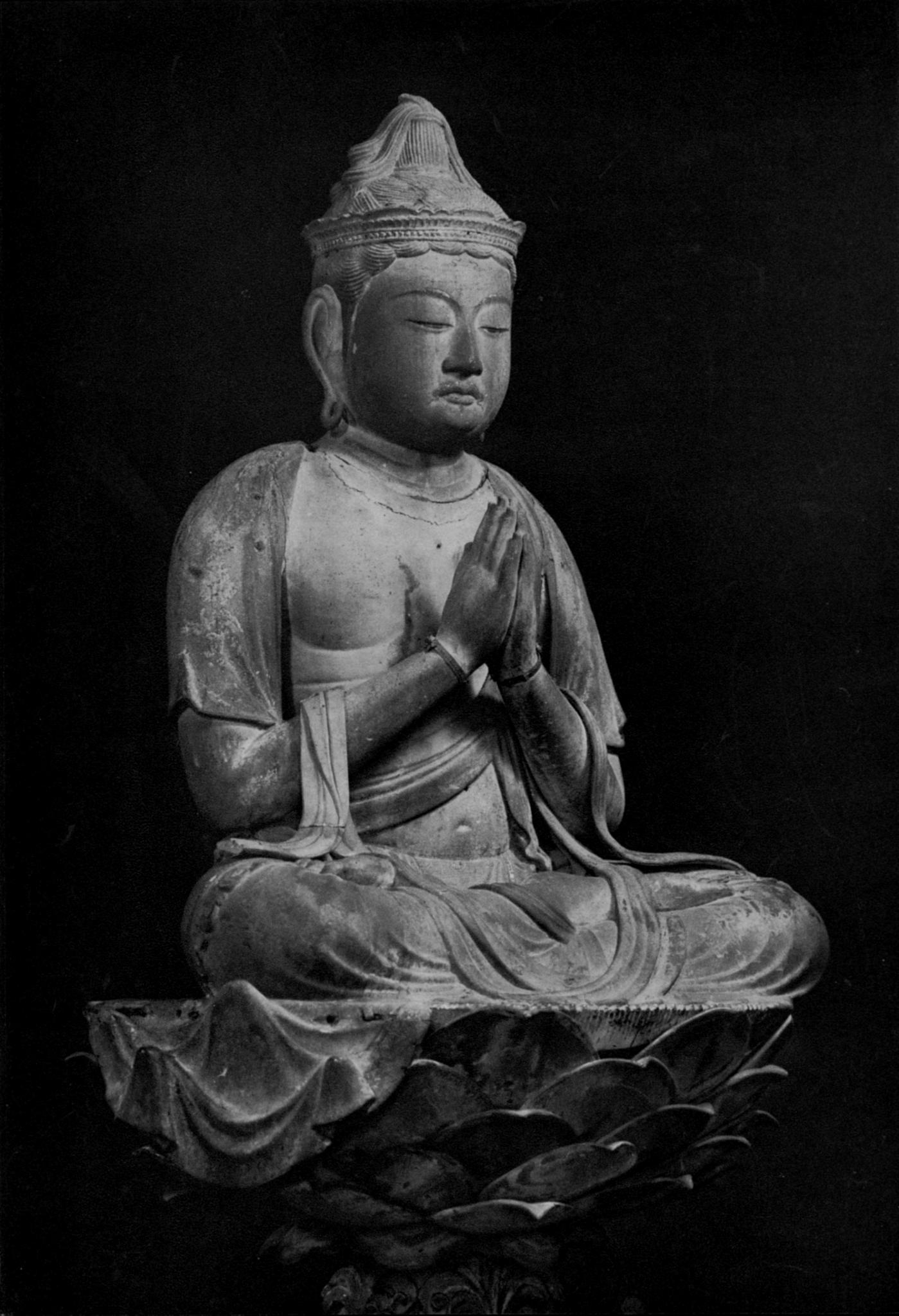 土門拳が撮影した木造普賢菩薩騎象像(国宝、大倉集古館所蔵)(美術出版社『日本の彫刻 Ⅴ「平安時代」』 1952年3月5日発行 Wikipediaより