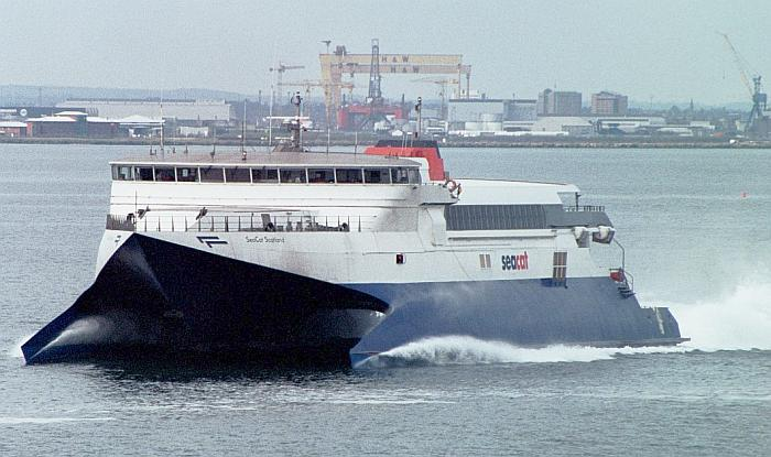 SeaCat Scotland leaving Belfast in her later livery.