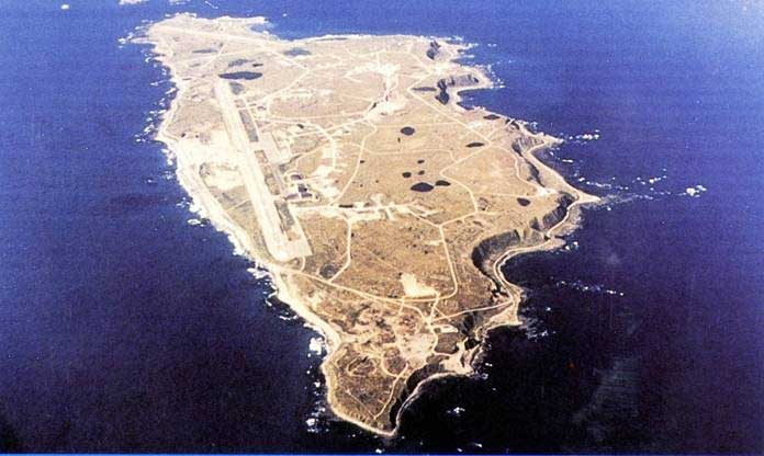 Eareckson Air Station, Shemya Island (US Air Force photo). The runway is 10/28 so this image faces roughly west or WNW.