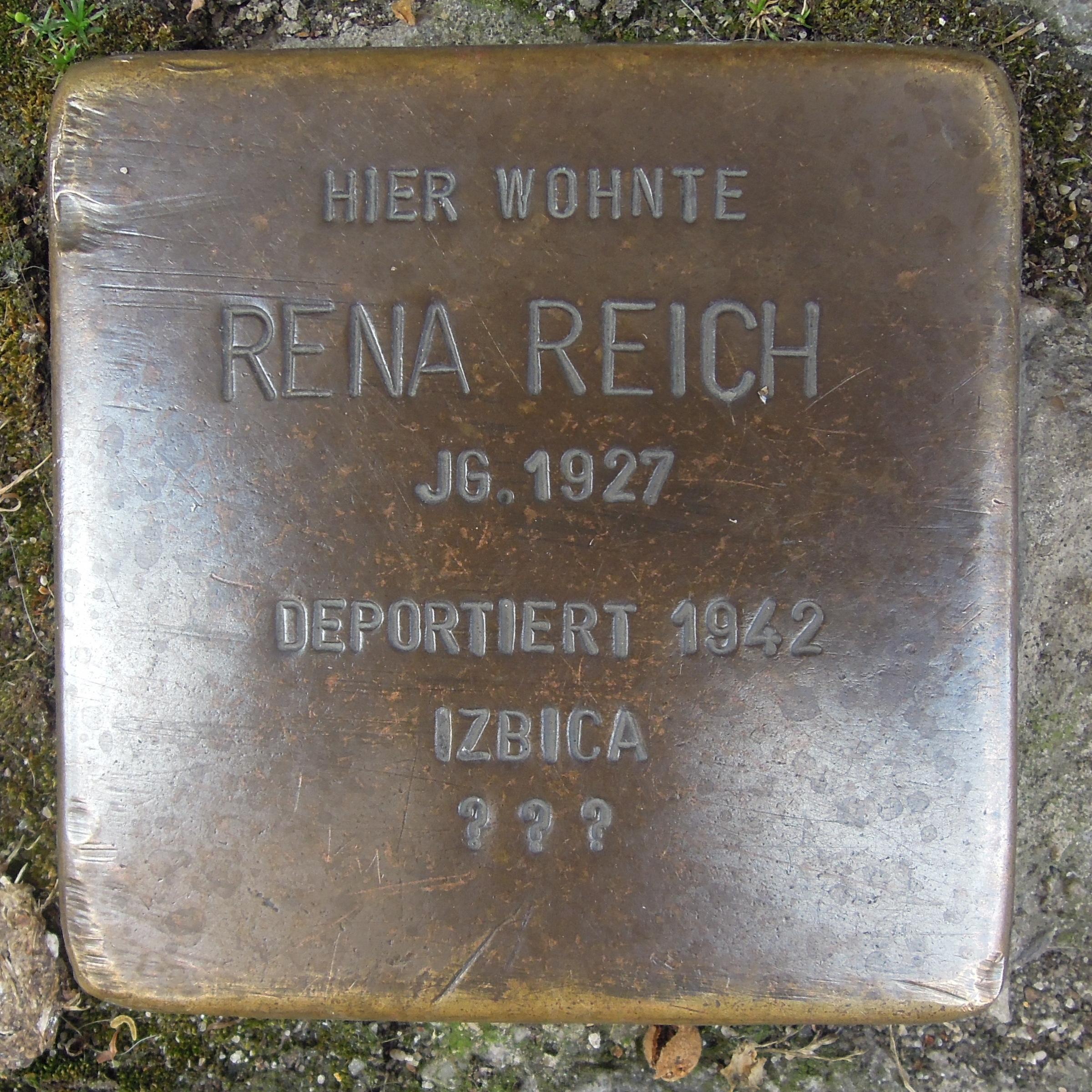 https://upload.wikimedia.org/wikipedia/commons/5/5e/Stolperstein_Kitzingen_Schweizer_Gasse_2_Rena_Reich.jpg