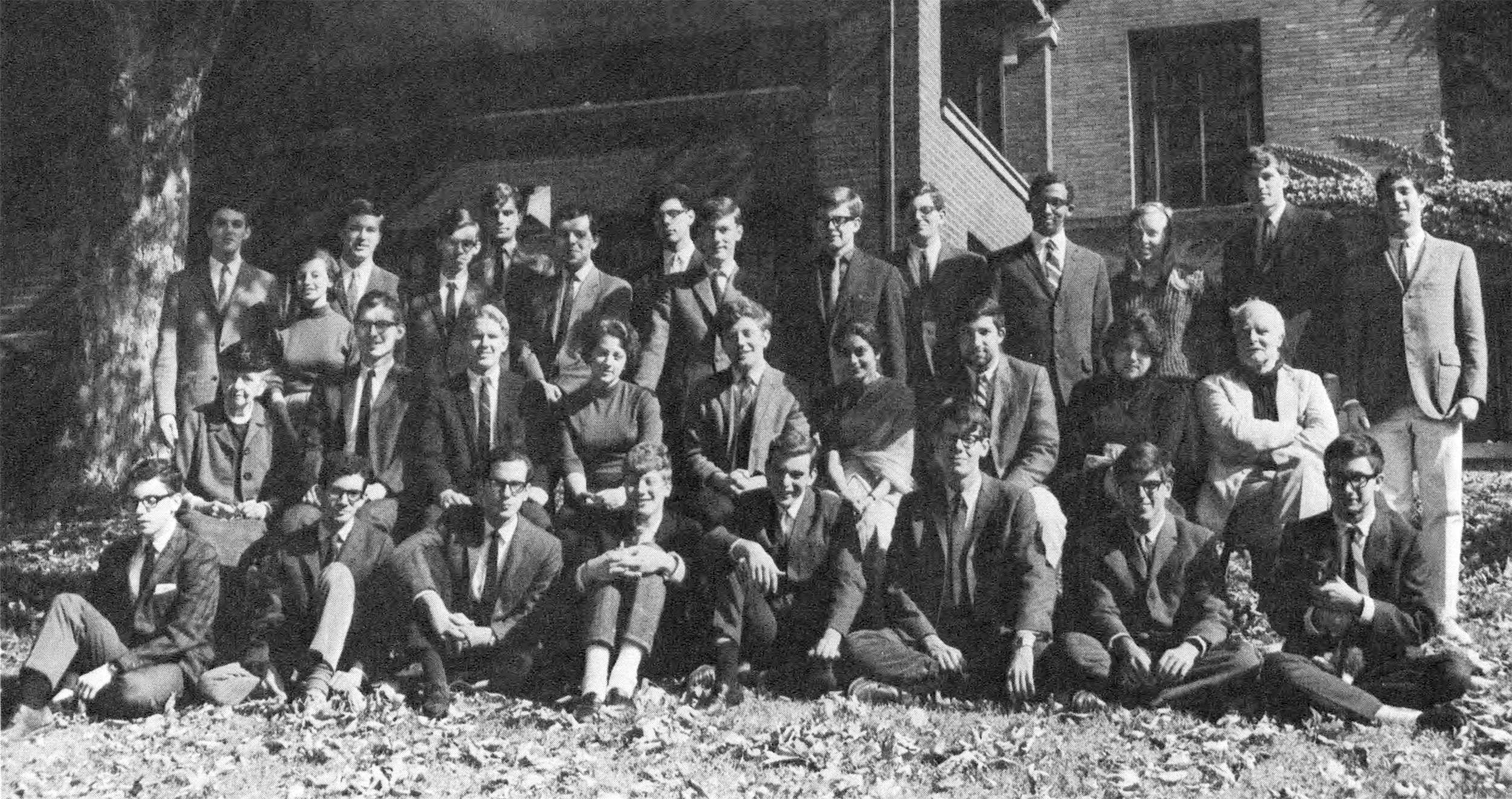 Barbara Herman as an undergraduate at Cornell (second row, fourth from the left) sits with fellow Telluride House members including faculty residents Frances Perkins (second row, first from the left) and Paul Grice (second row, first from the right).