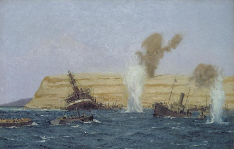 File:The Base Camp, Cape Helles, Under Shell Fire, August 1915- the 'ss River Clyde' is seen aground. Art.IWMART2450.jpg