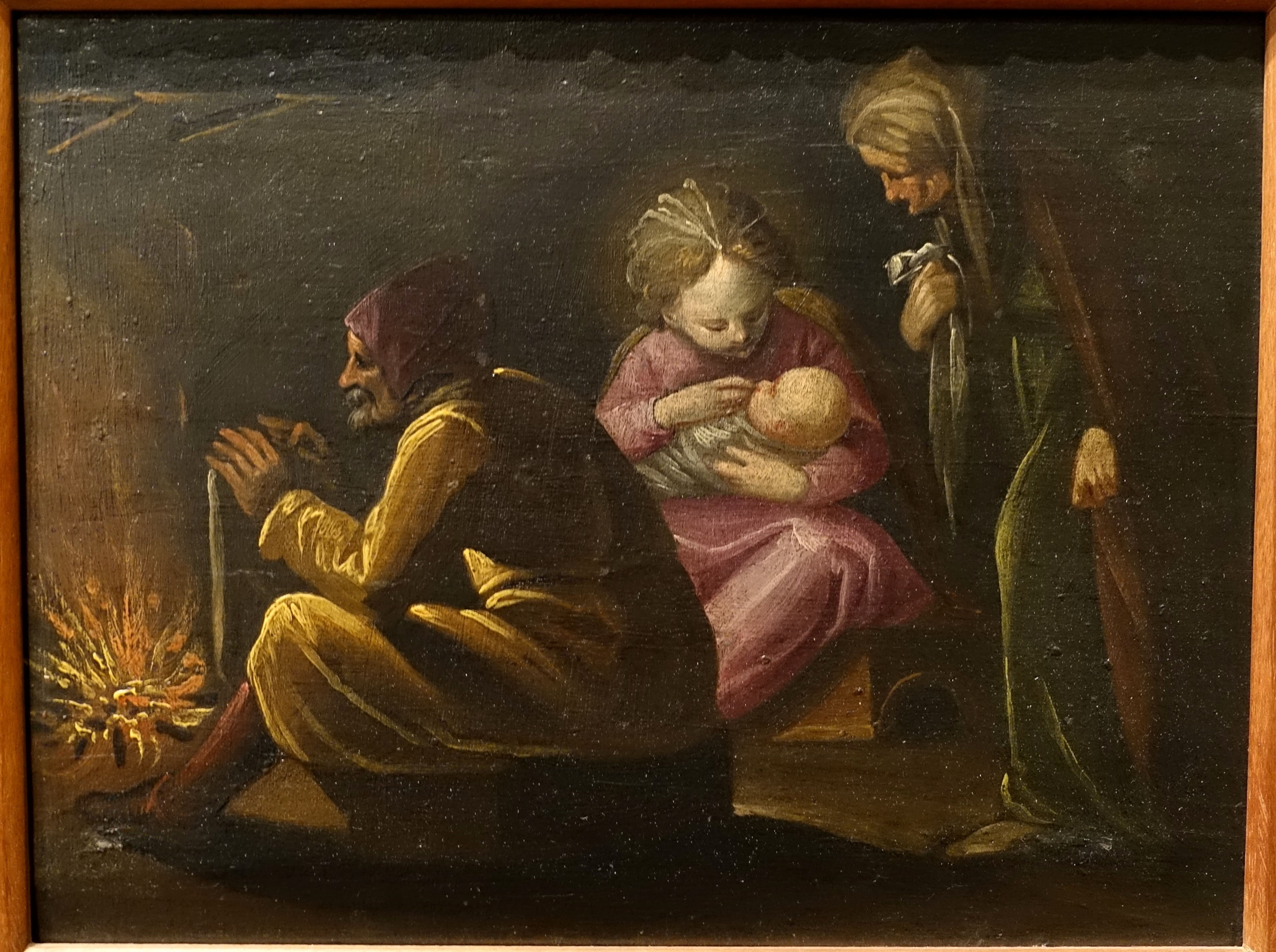 file the holy family with saint anne by a fireplace attributed to